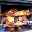 Stock Photo: Roast lamb by fire