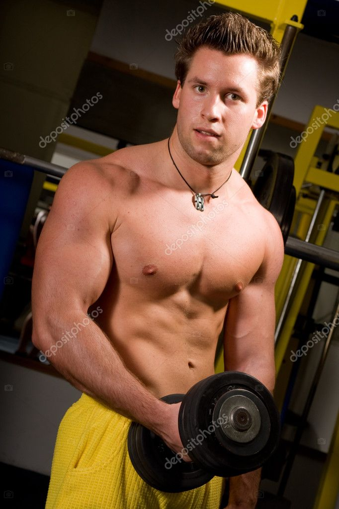 Young Bodybuilder training his bicep — Stock Photo #2782493
