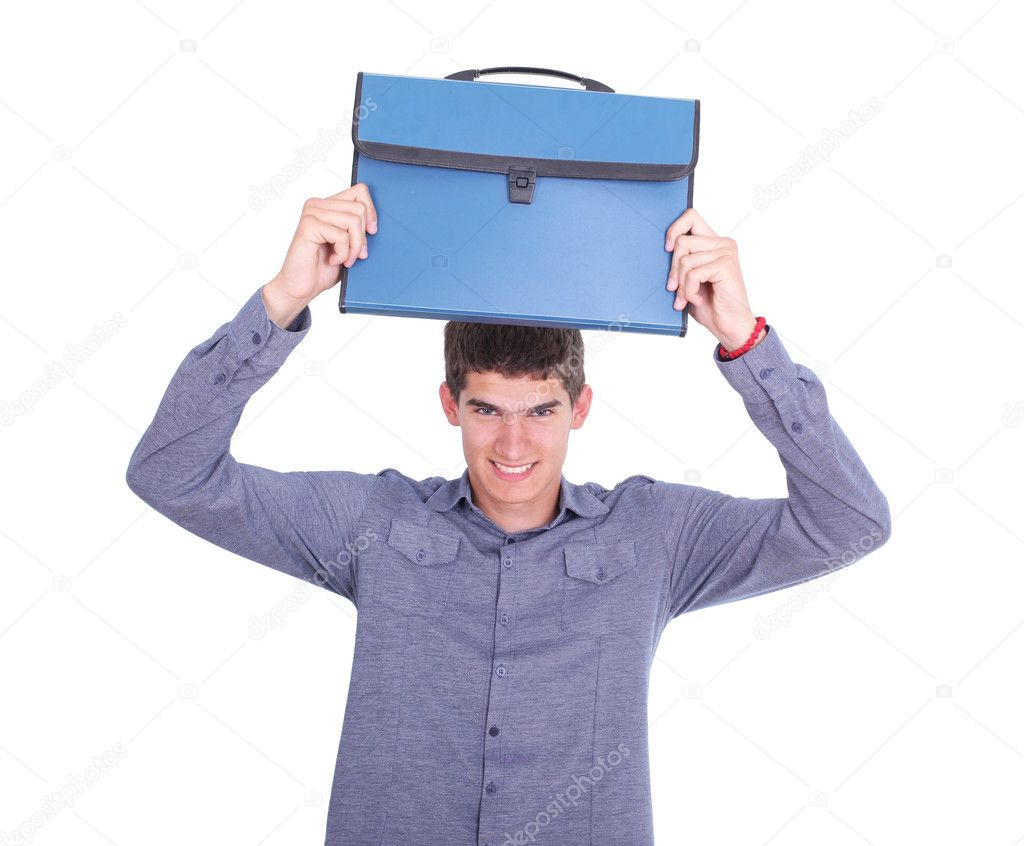 Nervous student holding a bag over his head — Stock Photo #3108969
