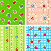 Naadloze patronen, bessen en bloemen — Stockvector