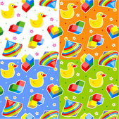 Seamless toys patterns — Stock Vector