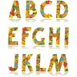 Autumn alphabet set letters A - M — Stock Vector