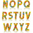 Autumn alphabet set letters N - Z — Stock Vector