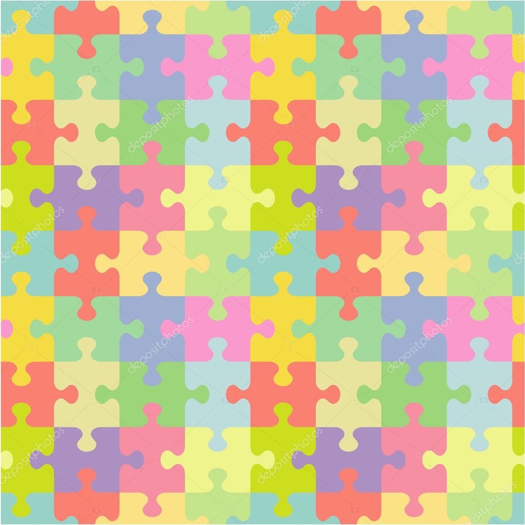 Seamless (you see 4 tiles) jigsaw puzzle pattern (print, background, wallpaper, swatch) of pastel colors classic style pieces — Stock Vector #3306488