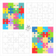 Jigsaw puzzle blank templates and colorful patterns — Stockvectorbeeld