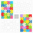 Jigsaw puzzle blank templates and colorful patterns — Cтоковый вектор