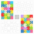 Jigsaw puzzle blank templates and colorful patterns — Stockvektor #3572957