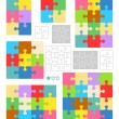 Jigsaw puzzle blank templates and colorful patterns — ストックベクタ