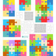Jigsaw puzzle blank templates and colorful patterns — Stock vektor