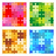 Seamless jigsaw puzzle patterns — Stock Vector