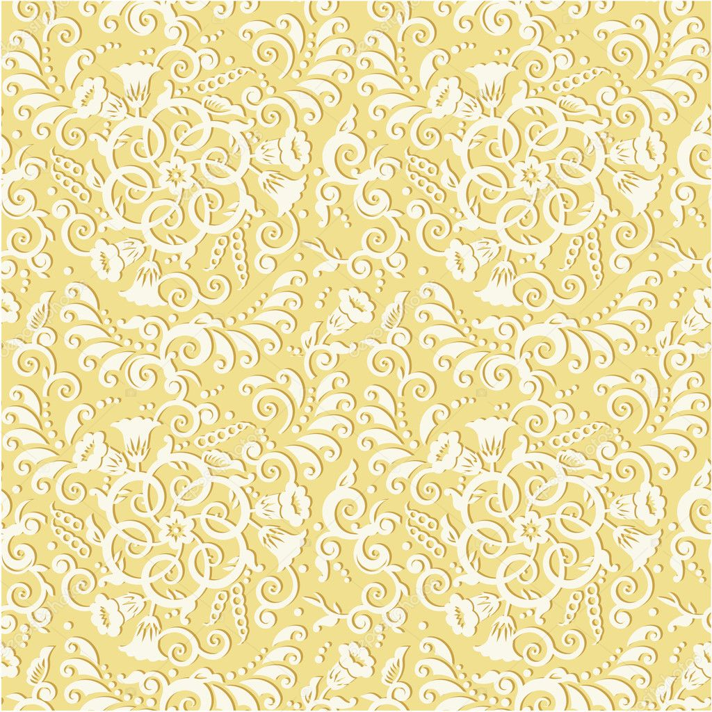 Gold Floral Pattern Wallpaper