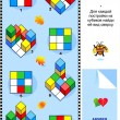 Find top view visual math puzzle - Vektorgrafik
