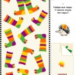 Colorful striped socks visual logic puzzle — Stock Vector