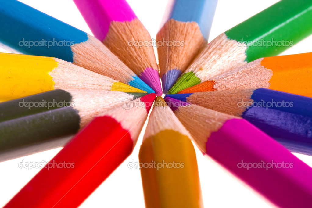 Color pencils isolated on white background  Stock Photo #2850681