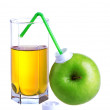 Stock Photo: Glass of apple juice with apple package