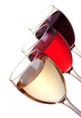 Red, rose and white wine in a wine glasses — Stock Photo