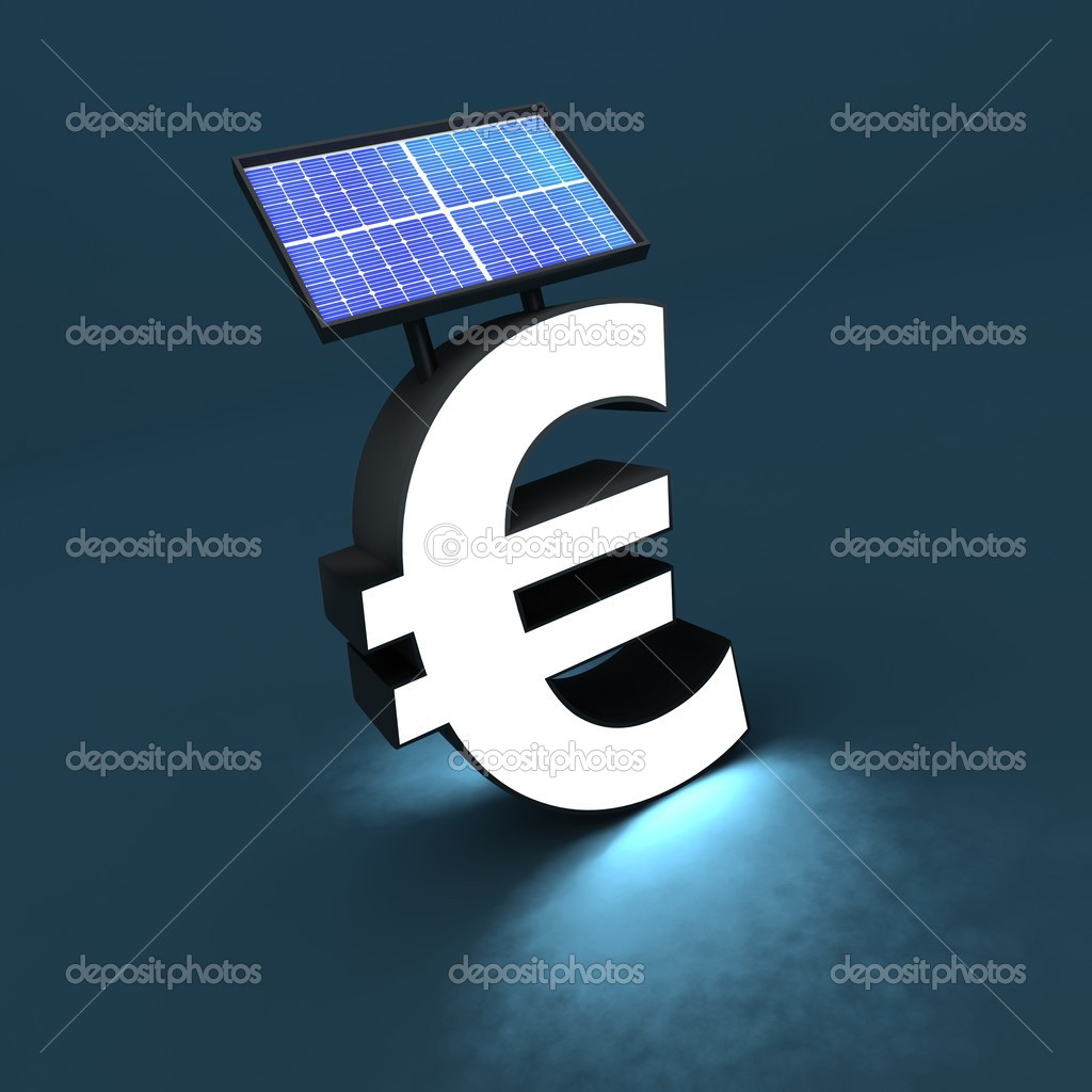 Euro sign, solar panel and light — Stock Photo #3840102