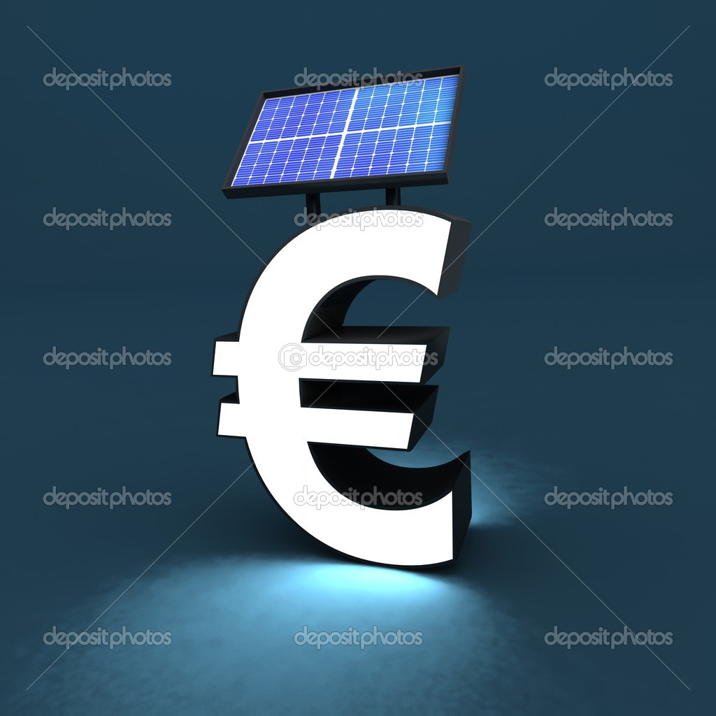 Euro sign, solar panel and light — Stock Photo #3840303
