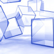 Glass blue cubes — Stock Photo
