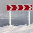 Stock Photo: Snowed guide road sign