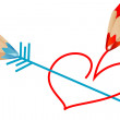 Red and blue pencils — Stock Photo