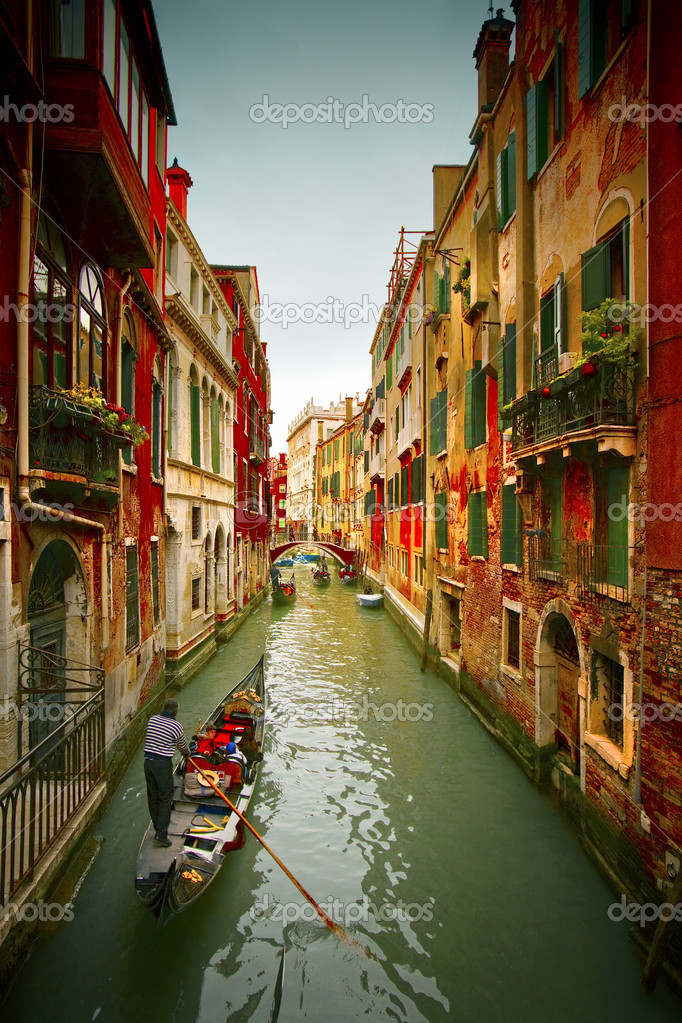 Postcard from Italy.Venice - Exquisite antique buildings along Canals. — Foto de Stock   #3428790