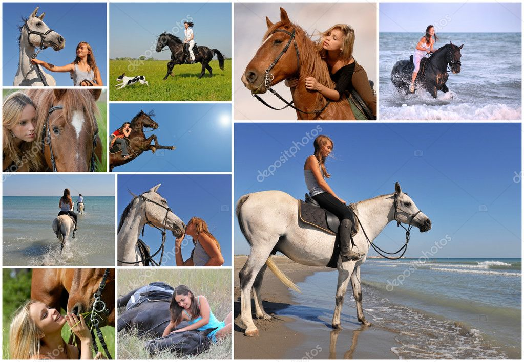 Composite image with young woman and her best friend horse   Stock Photo #2800859