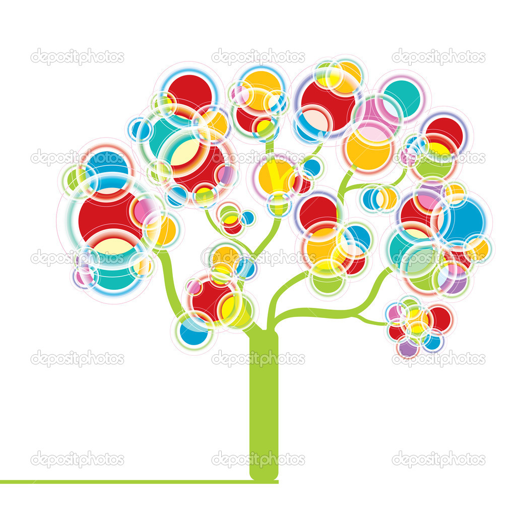 Graphic tree with circle design elements — Stock Vector #2714212