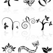 Monochrome nature icons — Stock Vector