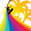 Surfing rainbow — Stock Vector