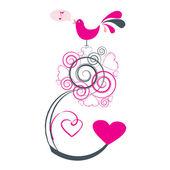 Love bird singing — Stock Vector