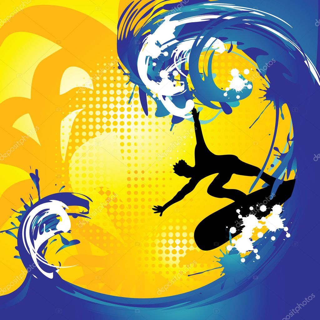 Tropical surfing background, vector illustration — Stock Vector #3070250