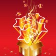 Golden christmas surprise gift — Imagen vectorial