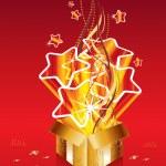 Golden christmas surprise gift — Stock Vector