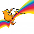 Cartoon character - riding rainbow - Stock Vector
