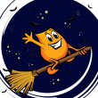 Cartoon character - flying on the broom at the starry night - Stock Vector