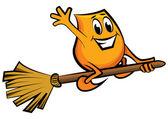 Cartoon character - flying on the broom — Stock Vector