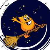 Cartoon character - flying on the broom at the starry night — Stock Vector