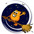 Stock Vector: Cartoon character - flying on the broom at the starry night