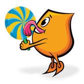 Cartoon character - Blinky - licking big lollipop — Stock Vector