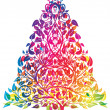 Stock Vector: Rainbow christmas tree