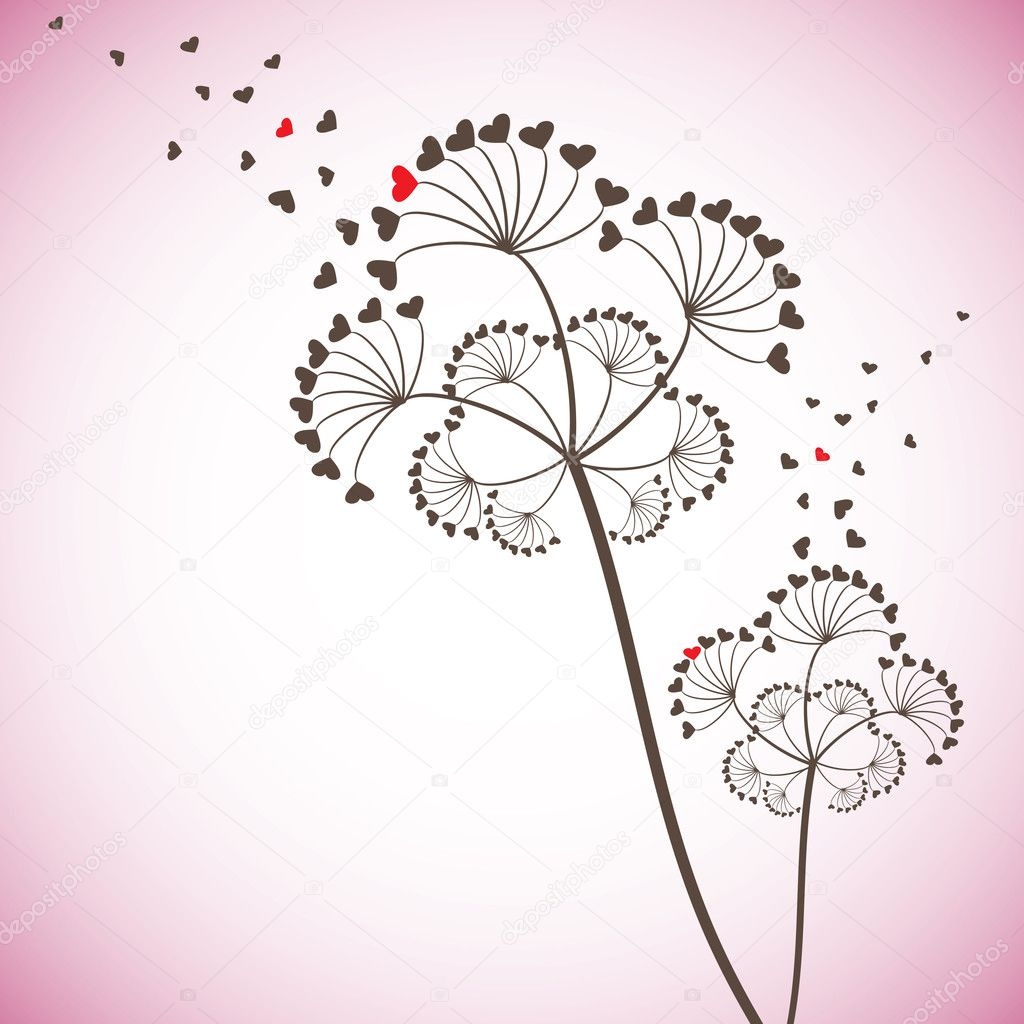 Valentine card with stylized dandelion, vector illustration — Stock Vector #3867503
