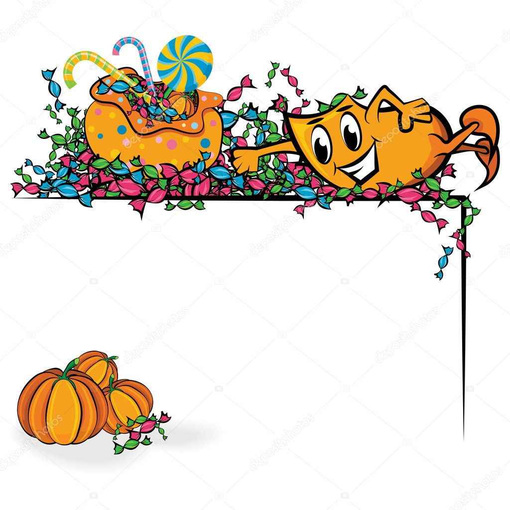 Cartoon Blinky swimming in treats corner, vector illustration — Stock Vector #3867538