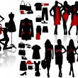 Silhouettes fashion girl with sempstress - Imagens vectoriais em stock