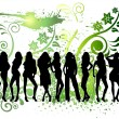 Silhouette girls — Stock Vector