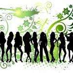 Silhouette girls — Stock Vector