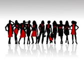 Chicas de silueta — Vector de stock