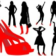 Girls with red shoe — Image vectorielle