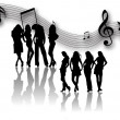 Girls and musical notes — Stock Photo
