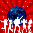 Disco Ball and dancing - 图库照片